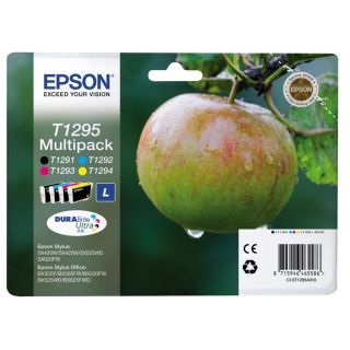 Product image of Epson Apple T1295 4 Colour Multipack Ink Cartridges Black, Cyan, Magenta, Yellow (Retail Packed, Untagged) for BX305F/BX320FW/BX525WD/BX625FWD/SX420W
