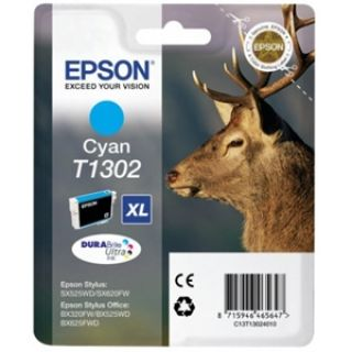 Product image of Epson T1302 Cyan Ink Cartridge (Retail Packed, Untagged) for BX320FW/BX525WD/BX625FWD/SX525WD/SX620FW