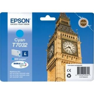 Product image of Epson T7032 (Yield 800 Pages) Cyan Standard Capacity Ink Cartridge for Epson Workforce Pro 4000 Series