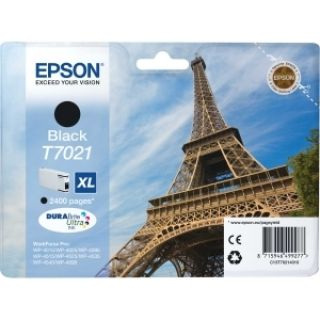 Product image of Epson T7021 (Yield 2,400 Pages) Black High Capacity Ink Cartridge for Epson Workforce Pro 4000 Series Printers