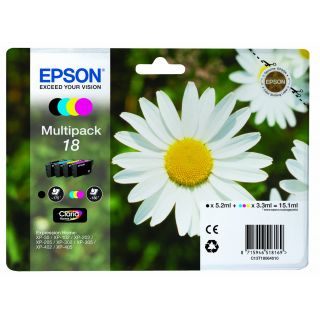 Product image of Epson Daisy 18 Series (T1806) Multipack 4 Colour (Black/Cyan/Magenta/Yellow) Ink Cartridges non-Tagged - for XP-30 / XP-102 / XP-202 / XP-205 / XP-302 / XP-305 / XP-402 / XP-405