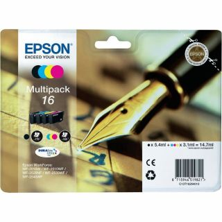 Product image of Epson Pen and Crossword 16 (non-Tagged) Multipack 4 Colour Cartridges (Black/Cyan/Magenta/Yellow) for Epson WorkForce WF-2010DW/WF-2510WF/WF-2520WF/WF-2530WF/WF-2540WF