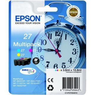 Product image of Epson Alarm Clock 27 DURABrite Ultra Multipack Ink Cartridge (Cyan/Magenta/Yellow) Blister for WorkForce WF-3620DWF/WF-7610DWF/WF-3640DTWF/WF-7620DTWF/WF-7110DTW Printers