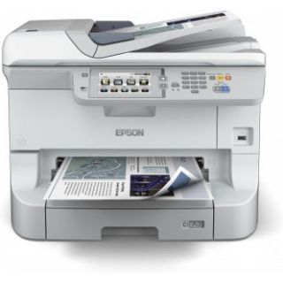 Product image of Epson WorkForce Pro WF-8590 DTWF, Inkjet Printers, Business Inkjet/Multifunction, A3+, 4 Ink Cartridges, YCMK, Print, Scan, Copy, Fax, Yes, Direct scan-to-print without PC, Direct print from USB, 4,800 x 1,200 dpi, 34 Pages/min Color (plain paper), 34 Pages/min Monochrome (plain paper), 831 Sheets Standard, 1,831 Sheets maximum, 1,200 dpi x 2,400 dpi (Horizontal x Vertical), 50 Pages, LCD screen: Type: Color, Touchscreen, Diagonal: 12.7 cm, Ethernet Interface (1000 Base-T/ 100-Base TX/ 10-Base-T), Wir