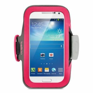 Product image of Belkin Slim-Fit Neoprene Armband with Built In Screen Protection (Pink) for Samsung Galaxy S4