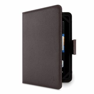 Product image of Belkin Full Grain Leather Tab Folio Case (Brown) with Dual Elastic Corners for Universal 7 & 8 Inch Tablets