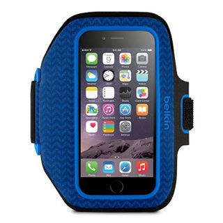 Product image of Belkin Sport-Fit Plus Armband with Credit Card Pocket (Blue) for iPhone 6 and iPhone 6s