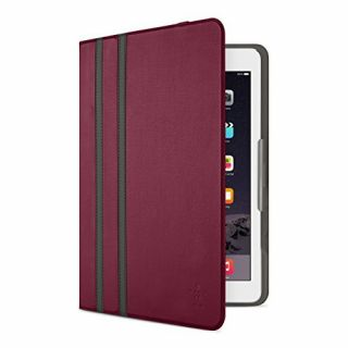 Product image of Belkin Twin Stripe Folio Cover (Burgundy) for iPad Air and iPad Air 2
