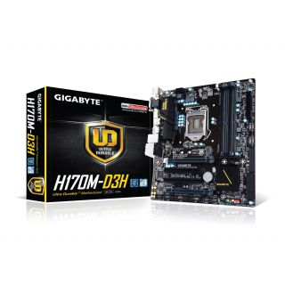 Product image of Gigabyte Ultra Durable H170M-D3H Motherboard Intel Core i3/i5/i7/Pentium/Celeron Socket 1151 Intel H170 Express Micro-ATX SATA/RAID Intel Gigabit LAN DDR4 Memory (Integrated Intel HD Graphics)