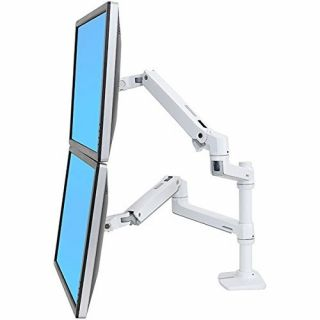 Product image of Ergotron LX DUAL STACKING ARM, NO GROMMET MOUNT, BRIGHT WHITE TEXTURE