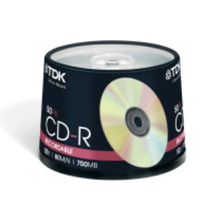 Product image of TDK CD-R 80 52x 700MB 80min Cakebox (50 Pack)