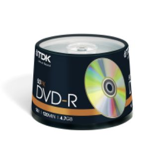 Product image of TDK DVD-R 16x 4.7GB 120min Cakebox (50 Pack)