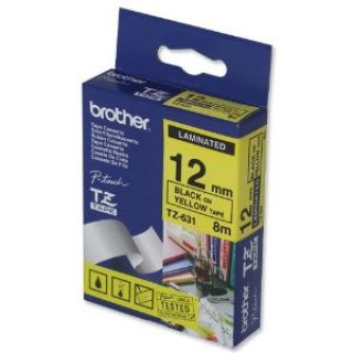 Product image of Brother P-touch TZ-631 (12mm x 8m) Black On Yellow Gloss Laminated Labelling Tape