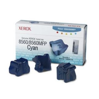 Product image of Xerox ColorStix Cyan (Yield 3,400 Pages) Solid Ink Sticks Pack of 3 for Xerox Phaser 8560 Series