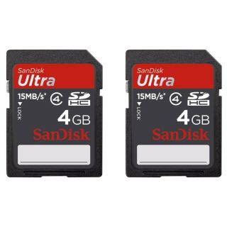 Product image of SanDisk 4GB 15 MB/s SDHC Cards Pack of 2 with Labels