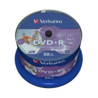 Product image of Verbatim DVD+R 4.7GB 16x Wide Photo Printable No ID Brand Spindle - 50 Pack