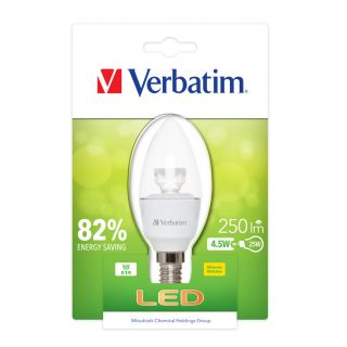 Product image of Verbatim LED Candle Clear Bulb E14 4.5W 250LM (White)