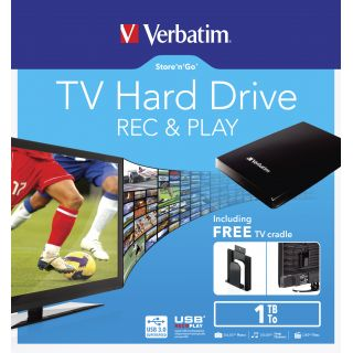 Product image of Verbatim Store 'n' Go (1TB) TV Hard Drive USB 3.0 (Black) with TV Mounting Cradle