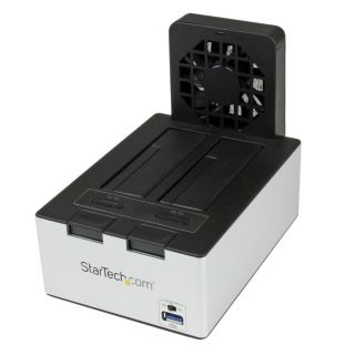 Product image of StarTech USB 3.0 Dual SATA Hard Drive Docking Station with integrated Fast Charge USB Hub UASP Support and Fan (Black)
