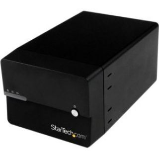 Product image of StarTech USB 3.0/eSATA Dual (3.5 inch) SATA III Hard Drive External RAID Enclosure with UASP and Fan (Black)