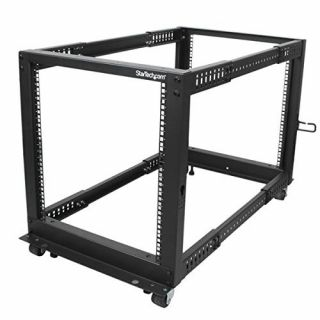 Product image of StarTech 12U Adjustable Depth Open Frame 4 Post Server Rack with Casters / Levelers and Cable Management Hooks