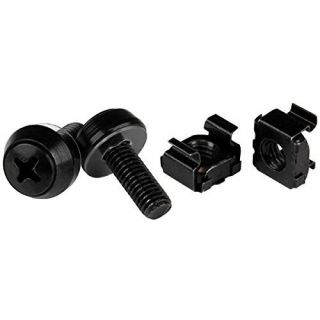 Product image of StarTech M6 X 12mm Screws and Cage Nuts - (Pck of 100 ) (Black)