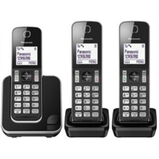 Product image of Panasonic KX-TGD313E Digital Cordless Phone No Answering Machine with Nuisance Call Block Trio (Black/Silver)