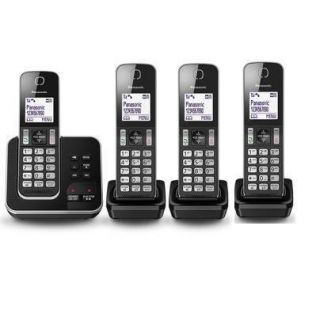 Product image of Panasonic KX-TGD324E Digital Cordless Answering System  with Nuisance Call Block Quad (Black/Silver)