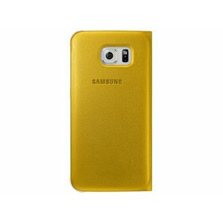 Product image of Samsung EF-WG925P Flip Wallet Cover (Yellow) for Galaxy S6 Edge Smartphone