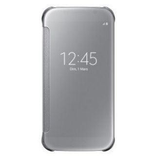 Product image of Samsung EF-ZG925B Clear View Cover (Silver) for Galaxy S6 Edge Smartphone