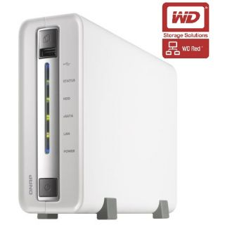 Product image of QNAP TS-112P All-in-One Tower Server 1-Bay 1TB (1x1TB) Turbo NAS for Home and SOHO Users (White)