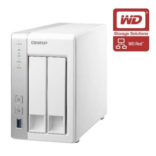 Product image of QNAP TS-231 Tower 2-Bay NAS ARM Cortex (1.2GHz) 512MB 4TB (2x2TB) QTS 4.1 USB/LAN/e-SATA (White) - WD RED Drive Model