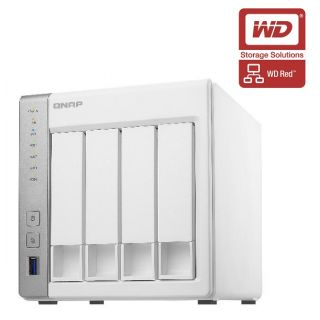 Product image of QNAP TS-431 Tower 4-Bay NAS ARM Cortex (1.2GHz) 512MB 12TB (4x3TB) QTS 4.1 USB/LAN/e-SATA (White) - WD RED Drive Model