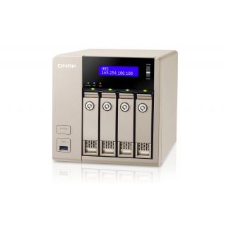 Product image of QNAP TVS-463 Tower 4-Bay Network Attached Storage (NAS) AMD (2.4GHz) 4GB QTS 4.1 LAN/USB/HDMI (Gold)