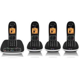 Product image of BT 7600 DECT Cordless Telephone Backlit Display Speaker Answering Machine Caller ID Quad-Pack (Black)
