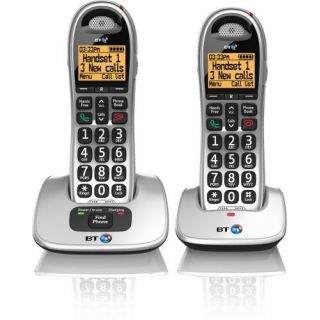 Product image of BT 4000 Big Button DECT Cordless Telephone Handsfree Twin-Pack (Silver/Black)