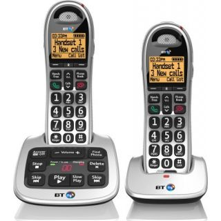 Product image of BT 4500 (1.8 inch) DECT Cordless Telephone Big Button Speaker Answering Machine Twin-Pack (Silver/Black)