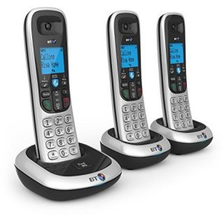 Product image of BT 2200 DECT Cordless Telephone Backlit Display Speaker Nuisance Call-Blocker Trio-Pack (Silver/Black)