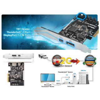 Product image of ASROCK THUNDERBOLT 2 AIC Asrock Thunderbolt 2 AIC PCI Express 1 x Thunderbolt 2 1 x DisplayPort 1.2 In TBT Header