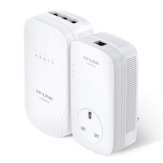 Product image of TP-LINK AV1200 TL-WPA8730 1300Mbps (5GHz) 450Mbps (2GHz) Gigabit Powerline AC Wi-Fi Kit (White)