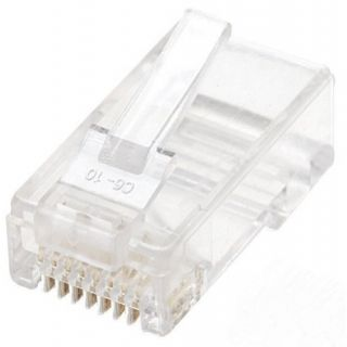 Product image of INTELLINET 100-PACK CAT5E MODULAR PLUGS UTP 3-PRONG FOR SOLID WIRE IN