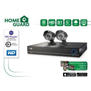 Product image of Storage Options HomeGuard HG4KIT2C1T 1TB WD Purple 4 Channel 2 Camera (600 TVL) CCTV Kit