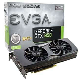 Product image of EVGA 02G-P4-2956-KR EVGA NVIDIA GTX 950 SC+ 1165MHz (BOOST 1355MHz) 6610MHz 2GB 128-bit DDR5 DVI-I/DP*3/HDMI ACX 2.0 TWINFAN PCI-E GRAPHICS CARD