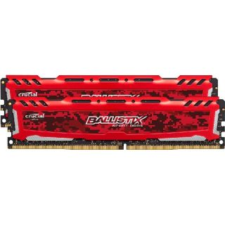 Product image of Crucial Ballistix Sport LT 32GB Memory Kit (2x16GB) PC4-19200 2400MHz DDR4 Unbuffered Non-ECC CL16 288-pin DIMM (Red)