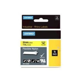Product image of Dymo ID1 (24mm) Flexible Nylon Tape (Black on Yellow) for Dymo Rhino