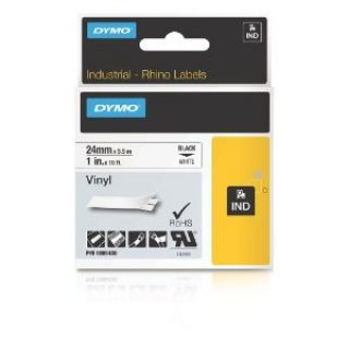 Product image of Dymo (24mm) Coloured Vinyl Tape (Black on White) for Dymo RhinoPRO 6000 Printers