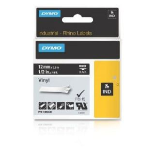 Product image of Dymo (12mm) Vinyl Tape (White On Black) for Dymo RhinoPRO 1000, 3000, 5000, 5200 & 6000 Printers