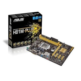 Product image of Asus H81M-PLUS Motherboard Core i7/i5/i3/Pentium/Celeron 1150 H81 uATX Gigabit LAN (Integrated Graphics)