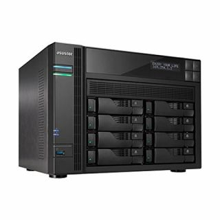 Product image of ASUS AS7008T 8-Bay NAS  Intel Core i3 3.5 GHz Dual-Core  2GB DDR3  GbE x 2  HDMI  SPDIF  PCI-E (10GbE ready)  USB 3.0 & SATA  LCD Panel  WoL  System Sleep Mode