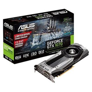Product image of Asus GeForce GTX 1070 Founders Edition (8GB) Graphics Card PCI Express 3.0 DisplayPort/HDMI/DVI-D